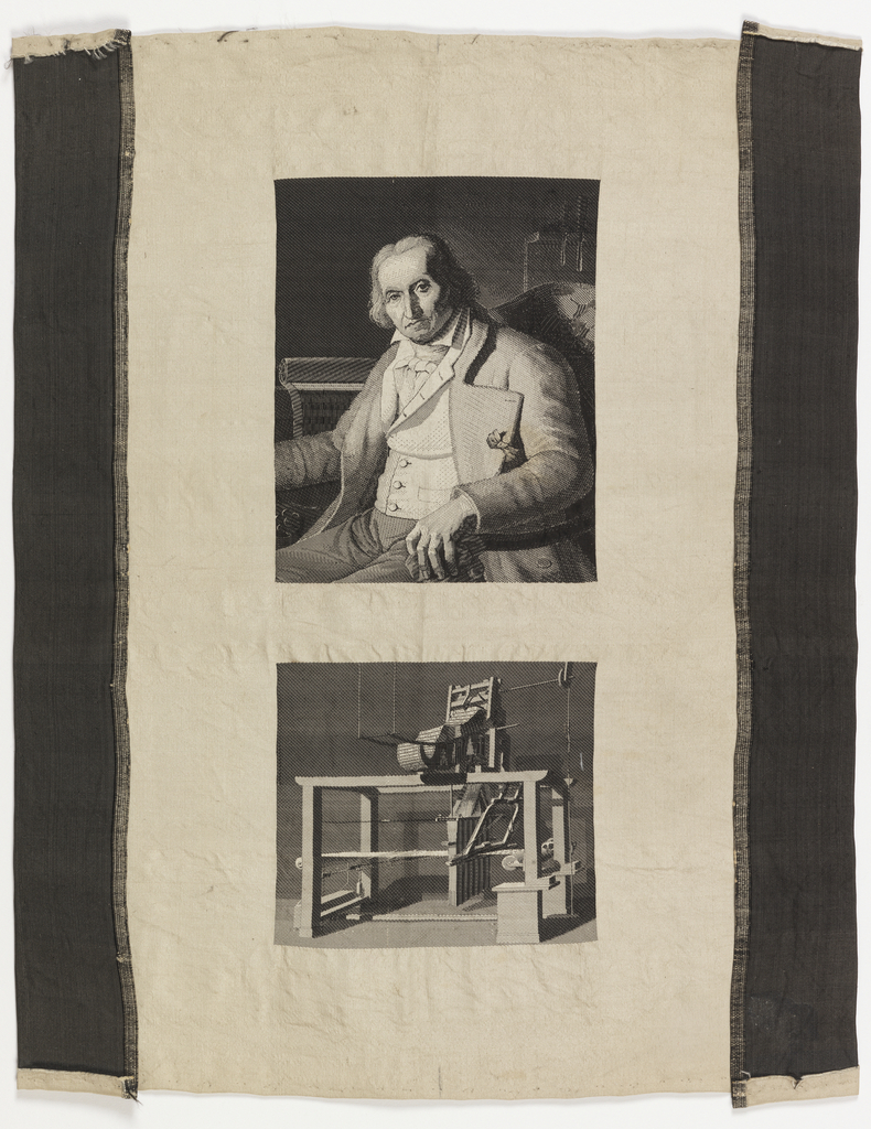 Small piece of silk with two woven pictures: on top, a portrait of Joseph-Marie Jacquard (1752-1834) after a portrait by Jean-Claude Bonnefond (1796-1860). Below, a picture of a loom with the Jacquard punch-card mechanism. Woven on a loom equipped with a Jacquard mechanism by Carquillat (died 1884).