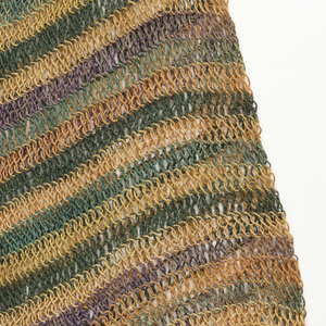 Square bag of heavy, closely-twisted cord, striped with horizontal rows of fiber dyed alternately green, orange and brownish violet, with rows of undyed fiber. Handle of same looped cord.