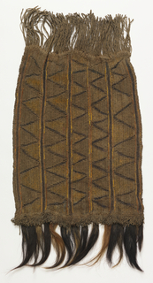 Small oblong panel constructed in two separate layers of tightly twisted cord of some plant fiber (possibly rattan palm). The surface is made in five strips with a simple design of interlocking triangles. Yellow pigment on triangles; yellowish raffia threaded in edges of strips; pieces of animal skin with hair at one end.