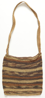 Square bag patterned with bands of natural, brick-red, and dull violet-black, plus small amounts of light dull blue; with long striped strap.