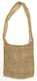 Bag of unpatterned, natural-colored knotted net with a long strap.