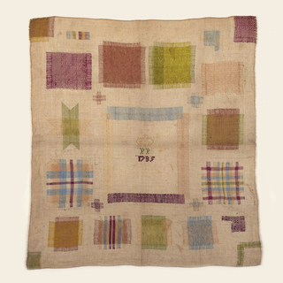 "Square sampler with stitching in violet, pale blue, lime green, fuschia and yellow on a cream-colored linen ground. Eighteen crosses and four darned corners demonstrate different repairs in different weave structures. Large square in center was removed and darned back. Additionally, one corner square was cut out and then darned back into the fabric. The eighteen crosses and other three corners were cut away, then the fabric was rebuilt by darning or ""needle weaving."""