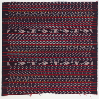 Bands of blue and white and blue and yellow weft ikat (jaspeado) alternating with bands of solid red.
