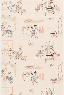 A variety of Parisian vignettes with poodles as characters. Printed in pink, black and silver on a pink ground. This is a pattern from the Sanitas Interim Line.