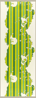 Silhouettes of women's faces, alternately facing left then right, forming a column-like motif. The silhouette is composed of thin stripes in brilliant shades of green. Printed on a white ground.