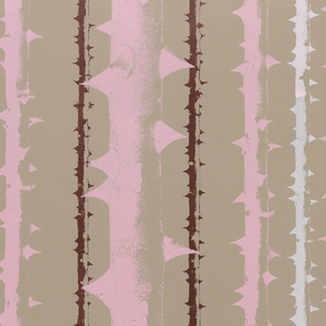 Large-scale photo enlargement of thorny rose stems creating a stripe pattern. The largest stem is centered while the right and left sides are mirror images of the other. Printed in pink, burgundy and white on taupe ground.