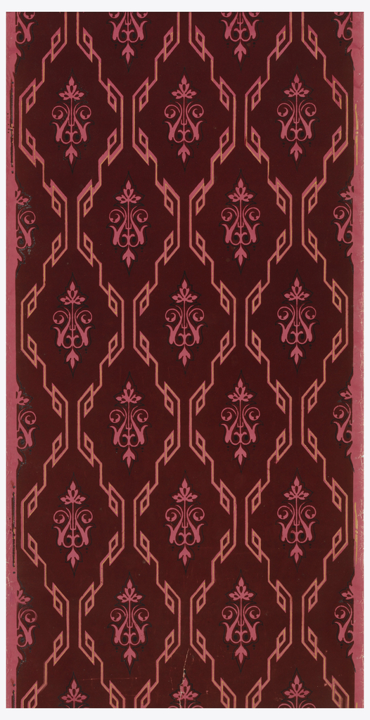 Trellis or diamond diaper framework made of running Greek key. In the center of diamond shape is a Moresque motif. Printed in burgundy flock with black and tan on pink or mauve ground.