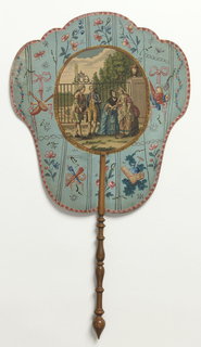 "Handscreen with engraved and hand-colored design. Obverse: an oval medallion with two couples talking in front of a garden gate with a fountain behind, surrounded by hand-painted motifs of flowers, musical instruments, etc. Reverse: short dialogues from the play ""Julia,"" numbered sequentially."