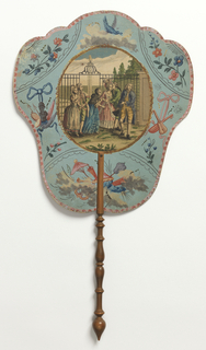 "Handscreen with engraved and hand-colored design. Obverse: an oval medallion with three couples talking in front of a garden gate with a fountain behind, surrounded by hand-painted motifs of flowers, musical instruments, etc. Reverse: short dialogues from the play ""Julia,"" numbered sequentially."