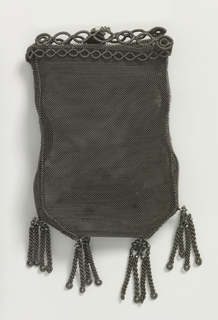 Purse is vertical rectangle with fringe and attached shell-like shape at bottom.