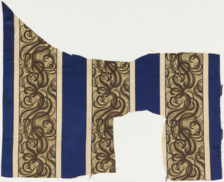 Fragment of woven silk with broad blue satin stripes alternating with broad beige stripes with supplementary warp forming elaborate interlacing scrolls in dark brown. Flanked by narrow guard stripes of ivory mini-checkerboard formed by supplementary warps. 