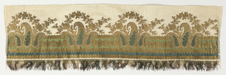 Woven border with horizontal bands of green and gold ornaments and groups of three Persian cones and flower garlands in two shades of green and gold thread on a white taffeta ground.  Bordered with green, white, and gold fringe of the period.