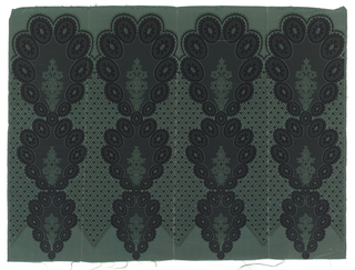 Silk border or flounce printed with lace-like floral and diaper pattern with black rosettes against a grey ground. One green warp;  two wefts, black and green,both used for patterning.