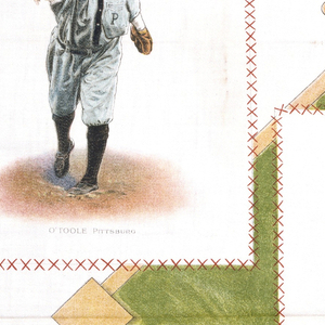 "Square souvenir panel with baseball players in rectangles superimposed over a baseball diamond with crossed bats and baseballs at the top, and a catcher's mask and glove at the bottom. The five baseball players are Christy Mathewson, John Franklin ""Home Run"" Baker, Tris Speaker, Ty Cobb and Marty O'Toole. Each rectangle is printed with a red cross stitch in imitation of embroidery."