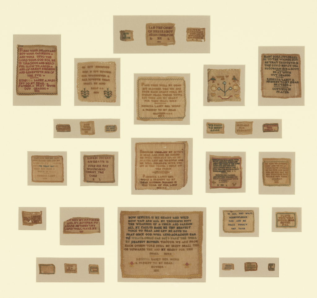 Thirty samplers (6 have the name Rebecca Laney with dates); with phrases or religious verses.  All appear to be from the same period.