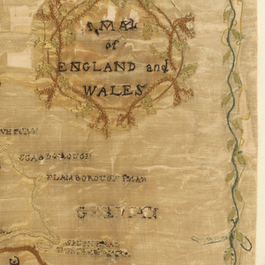 A signed map of England and Wales in very poor condition.