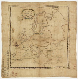 "Europe with names of countries and bodies of water in embroidery.  Upper corner reads ""A Map of Europe by Jane Flint 1784.""  Lower margin has alphabet."