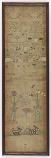 """Long vertical sampler worked in colored silks on a linen ground. The upper register has stylized floral vines. In the center, """"Elizabeth Thurston  Look well to what you take in hand for larning is better then house or land When land is gone and money is spent then larning is most excellent.  Aged 15 August the 9 1703"""". In the lower register are two columns holding flower urns with a heart and crown in between, two zebras, and the initials JH and ET."""