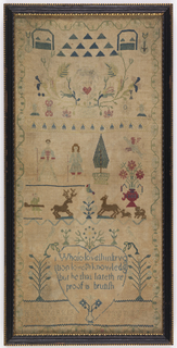 A shepherd and shepherdess, doe and buck, hunter, flower urn, trees, birds, and a verse within a heart; with a vine border.