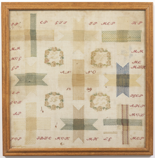 Sampler of nine different darning weaves in blue, green and yellow on white linen, with four cross stitch floral wreaths and numerous sets of initials in red cross stitch.
