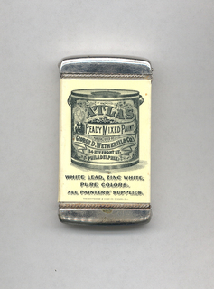 """Rectangular, curved top and bottom, featuring black printed decoration of paint can with variying type face and decorative motifs, inscribed """"Atlas Ready Mixed Paint, Manufactured by George D. Wetherill & Co., 114 North Front St., Philadelphia"""", inscribed below can """"White Lead, Zinc White, Pure Colors. All Painter's Supplies."""" Inscribed in fine print below """"The Whitehead & Hoag Co., Newark, N.J."""" Reverse features image of Atlas with globe on his back and cherubs flying about with brushes and paint cans, inscribed """"Established 1807. Incorporated 1896. We Must Cover The Earth with Atlas Paints. Geo. D. Wetherill  Co. Inc., Philadelphia."""" Side panel inscribed """"Atlas Paint Is Guaranteed"""", opposite side panel inscribed Geo. D. Wetherill & Co's Pure White Lead, $1000 Guarantee."""" Lid hinged on side. Striker on bottom."""