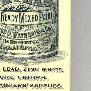 "Rectangular, curved top and bottom, featuring black printed decoration of paint can with variying type face and decorative motifs, inscribed ""Atlas Ready Mixed Paint, Manufactured by George D. Wetherill & Co., 114 North Front St., Philadelphia"", inscribed below can ""White Lead, Zinc White, Pure Colors. All Painter's Supplies."" Inscribed in fine print below ""The Whitehead & Hoag Co., Newark, N.J."" Reverse features image of Atlas with globe on his back and cherubs flying about with brushes and paint cans, inscribed ""Established 1807. Incorporated 1896. We Must Cover The Earth with Atlas Paints. Geo. D. Wetherill  Co. Inc., Philadelphia."" Side panel inscribed ""Atlas Paint Is Guaranteed"", opposite side panel inscribed Geo. D. Wetherill & Co's Pure White Lead, $1000 Guarantee."" Lid hinged on side. Striker on bottom."