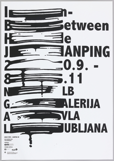 "Poster reads, ""In Between He Jianping 20.9 - 8.11 NLB Galerija Avla Lubljana."" 