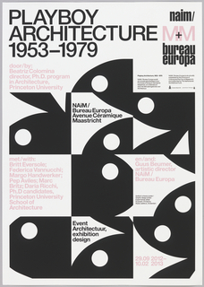 """Square-cropped views of nine black Playboy Bunny heads, rotated at different angles and interspersed with sections of text in pink and black. Top of page reads """"Playboy/Architecture/1953-1979"""" in rows of large black type. Poster advertises exhibition held at NAiM / Bureau Europa."""