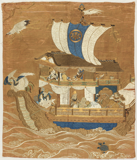Gift cloth or fukusa. Embroidered design shows the Shichi Fukujin or the seven gods of good fortune on a boat. The design includes a crane and turtle, both symbols longevity and felicity. A phoenix also appears as part of the design.
