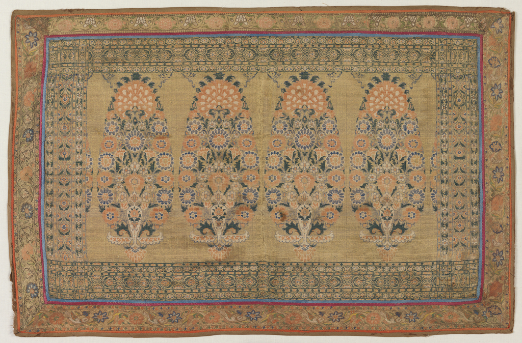 Panel with polychrome floral or cone forms on a gold background; complementary weft 3/1 plain weave.The panel is enclosed by four pieces of bias-woven borders flowers and birds on a metal ground. The guard strips are pierced silk satin. The entire panel is backed with a floral block print on cotton. The edge is light brown with twill woven silk fabric.