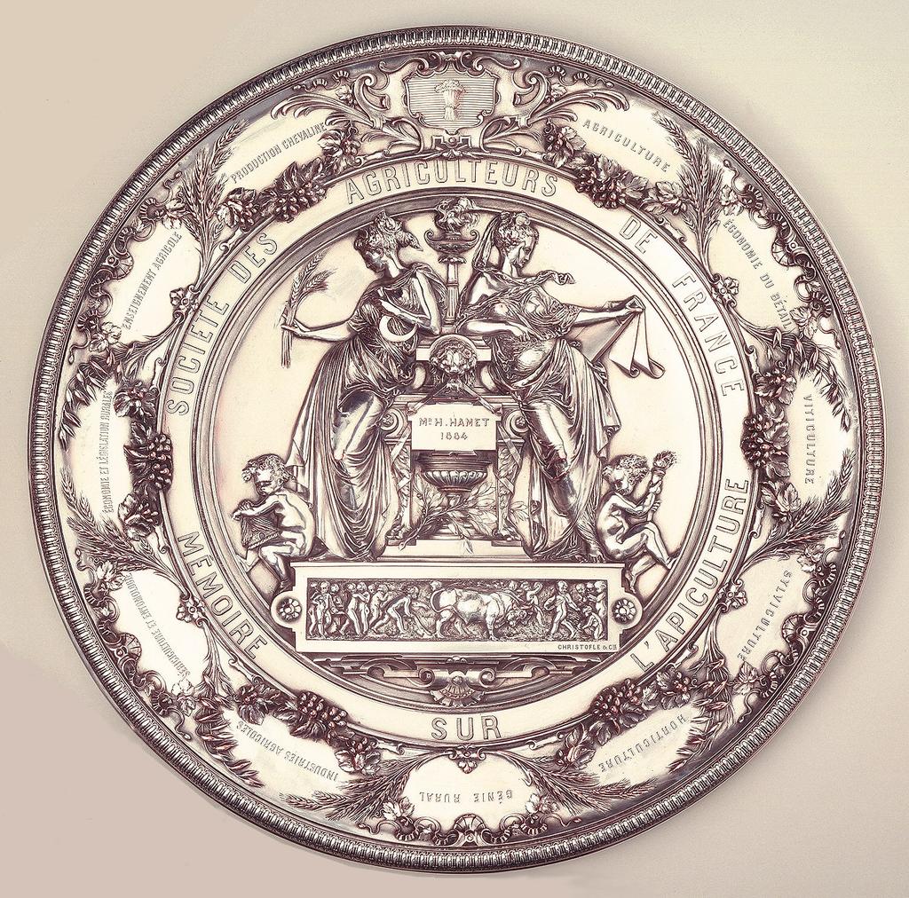 Silver plated award plaque (issued to Monsieur N. Hamet in 1884).