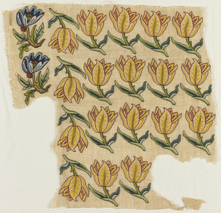 Four rows of 'slips.' Yellow tulips on a cream-colored ground. Two tulips have been cut away.