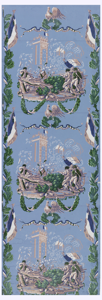 "Barricade battle scene of Porte St. Denis, surmounted by rooster, oak wreath and ribbon inscribed: ""Porte St. Denis."" Edged with oak vine and tricolore. Printed in pink, blue, green and white on lighter blue ground."
