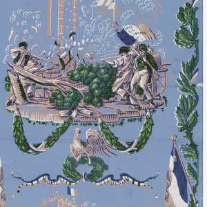 """Barricade battle scene of Porte St. Denis, surmounted by rooster, oak wreath and ribbon inscribed: """"Porte St. Denis."""" Edged with oak vine and tricolore. Printed in pink, blue, green and white on lighter blue ground."""
