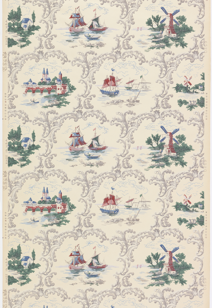 Alternating landscape views of ships and windmills, enclosed in rococo framework. Printed in red, green and blue with gray framework, on white ground.