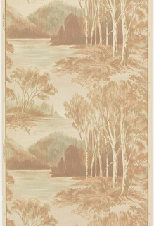 Landscape paper with view of mountains and lake seen through a group of birch trees.