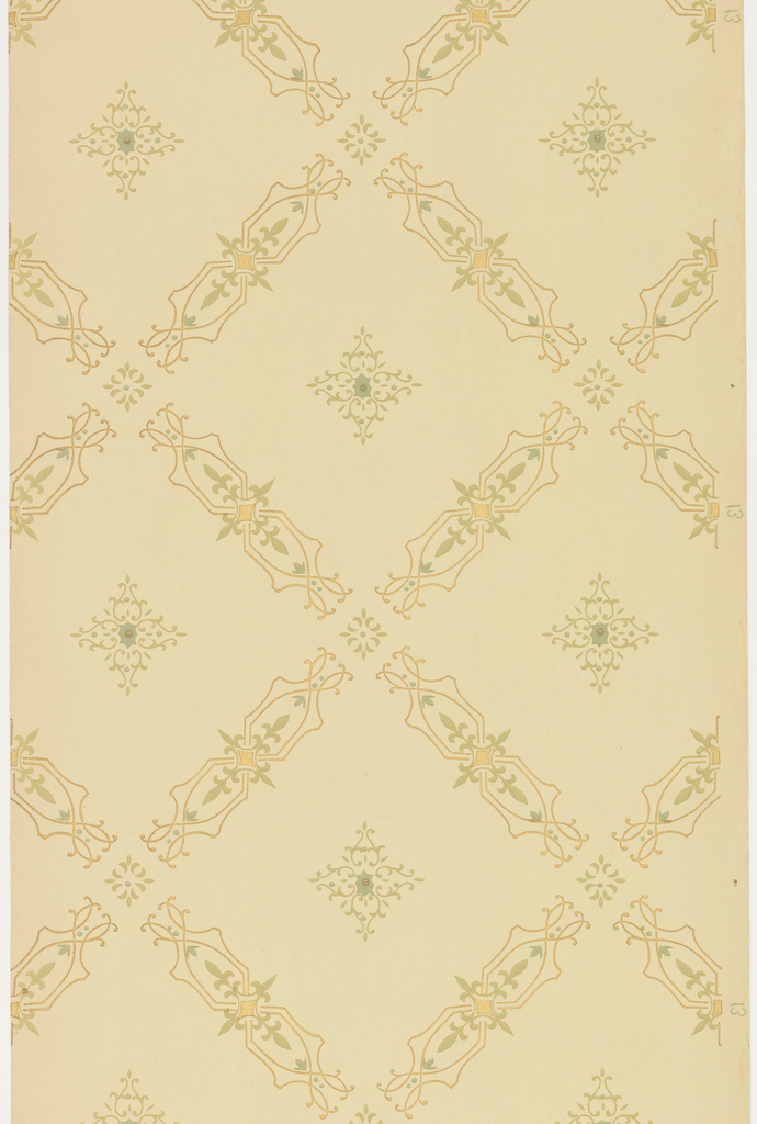 Large trellis pattern, cells bordered in stylized, open line-work and fleur-de-lis pattern. Each cell contains diamond-shaped medallion composed of stylized foliate scrollwork with small, brown bead at center. Pattern printed in gold, greens and brown on khaki ground.