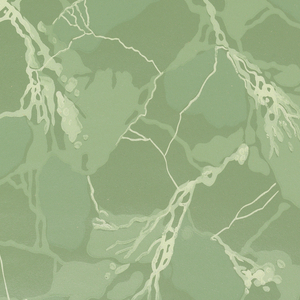 Imitation marble in shades of green and white on a green ground.