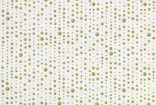 """Polka-dot design with a vertical orientation. Printed in shades of green on a white ground, the size of the dots varies, and each has the appearance of being """"dropped"""" onto the page."""