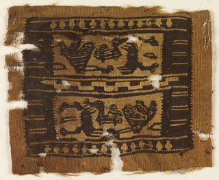 Coptic textile fragment. Woven linen and wool showing animal and bird figures within a graphic border.