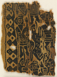 Tapestry woven fragment in black and tan. On the left, a standing, bearded figure in a tunic with a crown, with his hand raised. On the right, a second bearded figure. Above, part of a third figure in a striped tunic; below a bearded head with raised hand. These figures are all perpendicular to the warp; parallel to the warp are running animals, some with spots. Crenellated border with traces of soumak. All outlines and details worked in light-colored soumak and tapestry on dark forms.