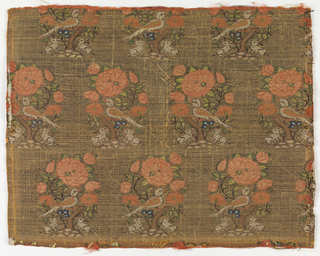 Woven silk textile with repeating pattern of a bird sitting in a flowering tree, under which sits two rabbits. Brown and yellow ground with coral colored flowers and green leaves.
