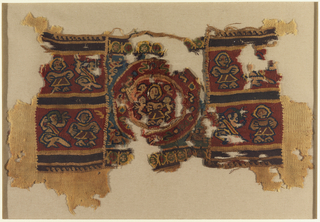 Weft-faced plain weave natural wool fabric patterned by a tapestry‑woven panel with slit, dovetailed, non-horizontal wefts, and wrapping. Central roundel with a large figure and four smaller (angels?)  Border of small Coptic crossed above and below. Large black, red and yellow horizontal stripes with pairs of seated and standing figures.