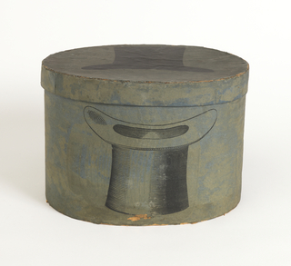 Illustration of man's top hat, printed in black on green on box lid and one side of box. The other box side contains a manufacturer's label.