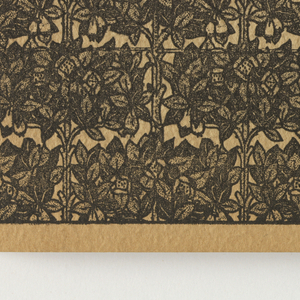 """Soft covers printed in yellow, green, blue, red, brown and black and showing eight examples of wallpapers, the majority of which are flowered. Inside are one-hundred samples of wallpaper, including samples of oatmeal paper, varnished tile paper, and gilt over-prints. There is one children's paper titled """"The Nursery"""" which is based on Mother Goose nursery rhymes."""