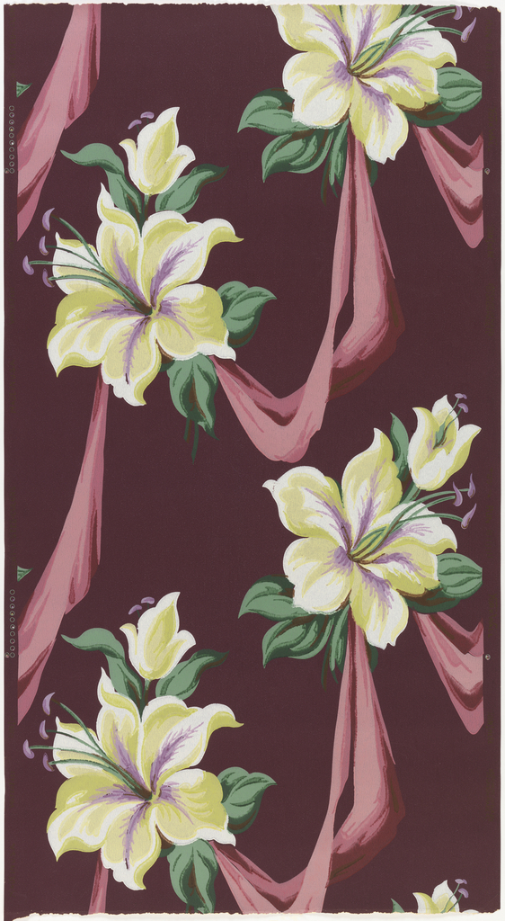 White lilies with green leaves connected by pink swags on a maroon ground.