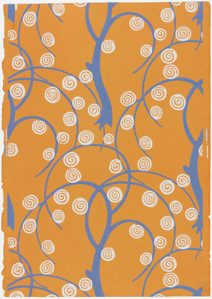A highly stylized leafless tree design in continuous pattern with off-white scrolls or spirals for flowers. Printed in blue and off-white on orange field. Printed for Nancy McClelland of New York City.
