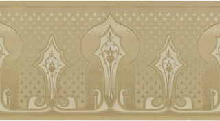 A repeating pattern of alternating stylized onion-top and spearhead motifs, each one enclosing a similar delicate fleur-de-lis design. Upon a gray ground with an overleaf of a complementary fleur-de-lis design. Printed in gray, beige, cream, mica, bronze and gold.