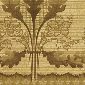 A repetitive design of bundles of oak leaves interspersed with a geometric floral motif, all connected by oak leaves. Upon a beige ground with a geometric overlay, between complementary borders. Printed in cream, beige, brown, olive green and gold.