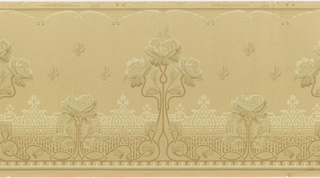 A repeating design of large styized trees with three flower heads, interspersed by smaller complementary trees with a single flower head. Upon a ground with an overlay of an intricate design and stylized fleur-de-lis between complementary borders.